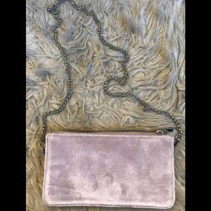 Light Pink Velvet Purse Wallet w/ Silver Chain
